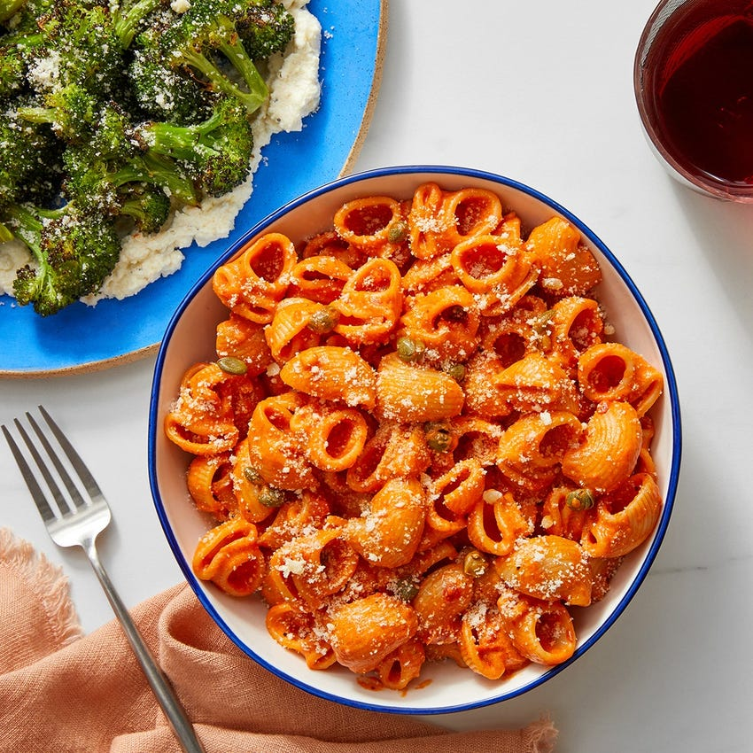Roasted Red Pepper Pasta with Broccoli & Parmesan Cheese
