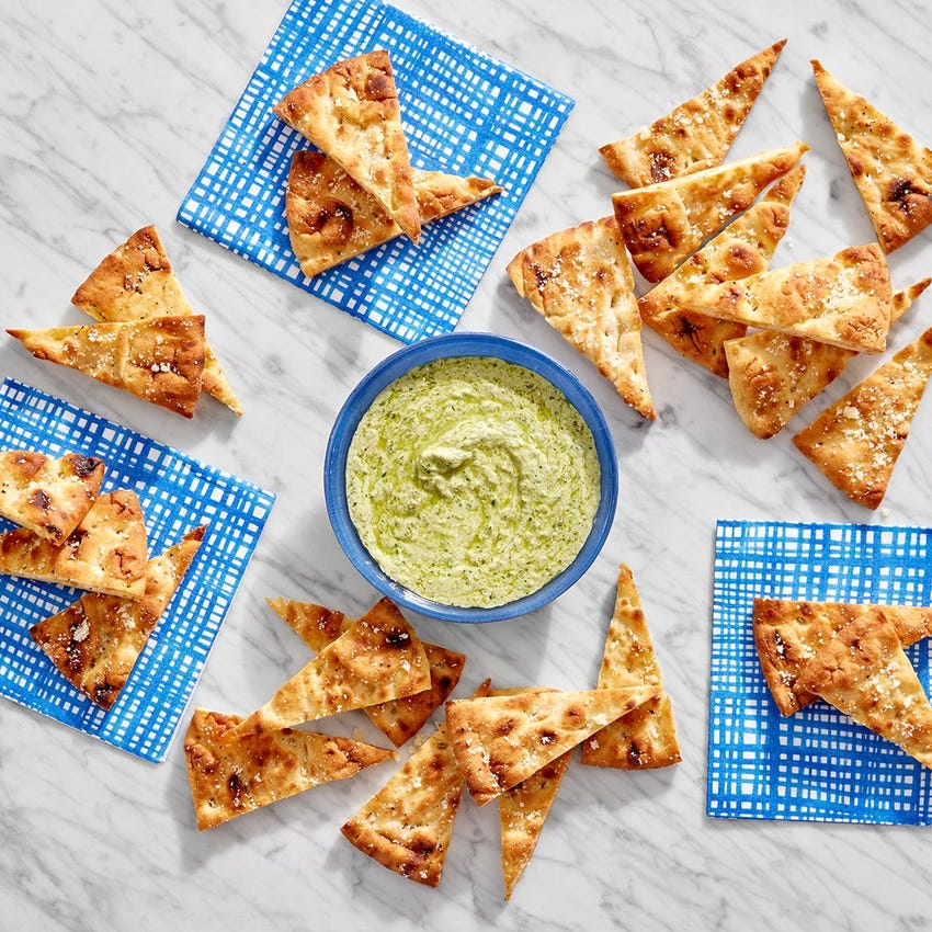 Parmesan Pita Chips with Creamy Basil Pesto Dip