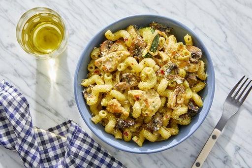 Pesto Chicken Pasta with Zucchini & Mushrooms