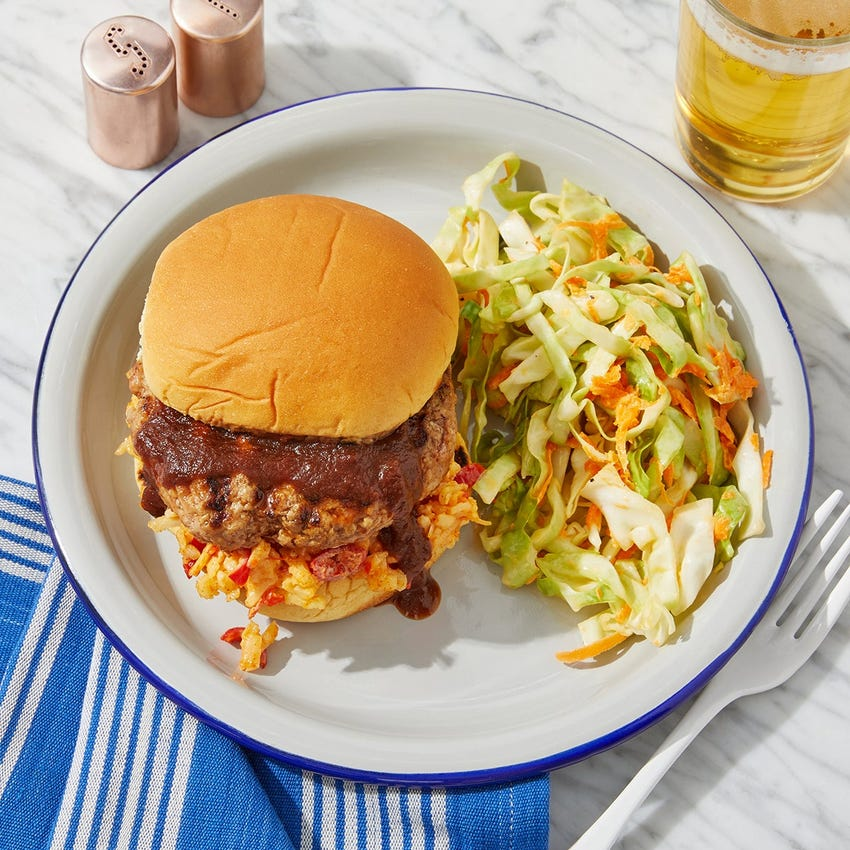 Grilled BBQ Pork & Pimento Cheese Burgers with Coleslaw