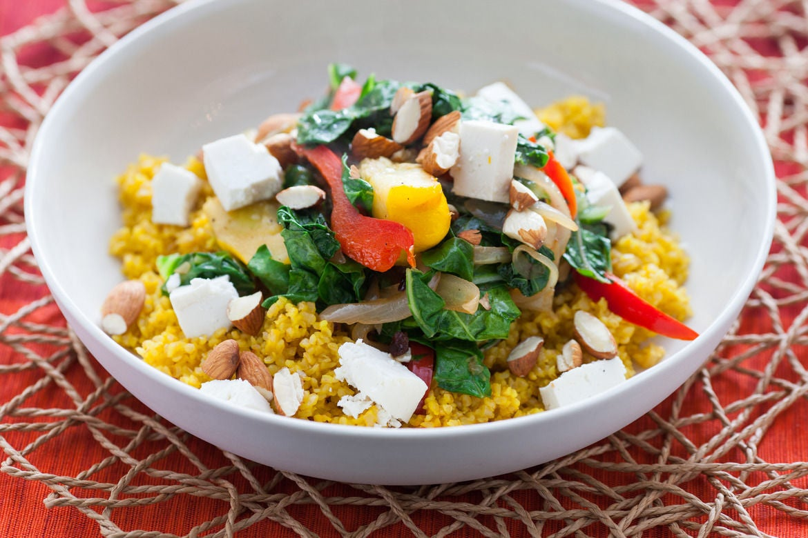 Recipe: Saffron Bulgur Pilaf with Early Fall Vegetables - Blue Apron