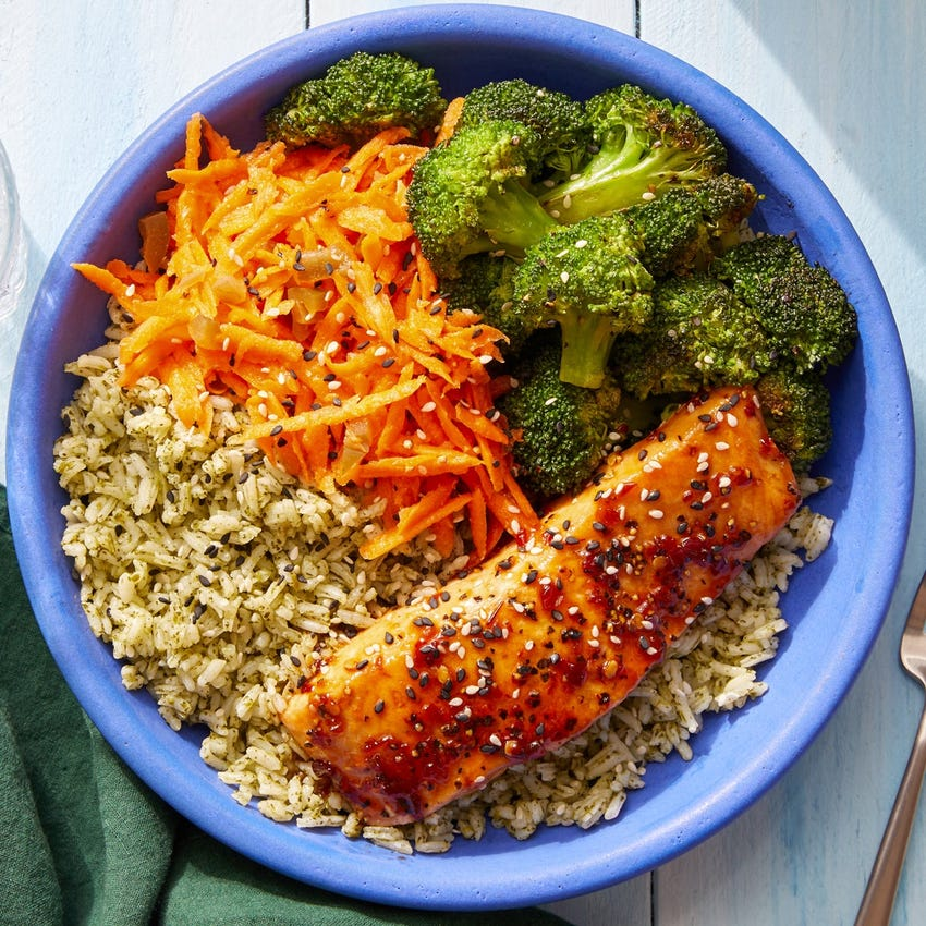 Sambal-Glazed Salmon & Cilantro Rice with Marinated Carrots & Sesame Broccoli