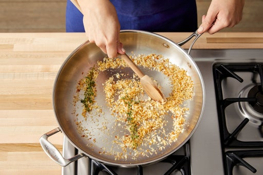 Make the garlic-thyme breadcrumbs: