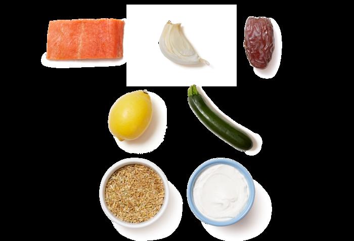 Seared Salmon & Lemon Labneh with Freekeh, Zucchini, & Dates