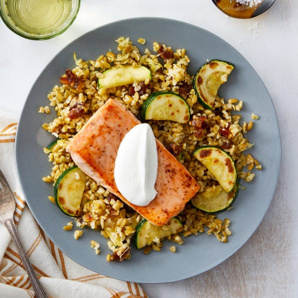 Seared Salmon & Lemon Labneh with Freekeh, Zucchini, & Dates