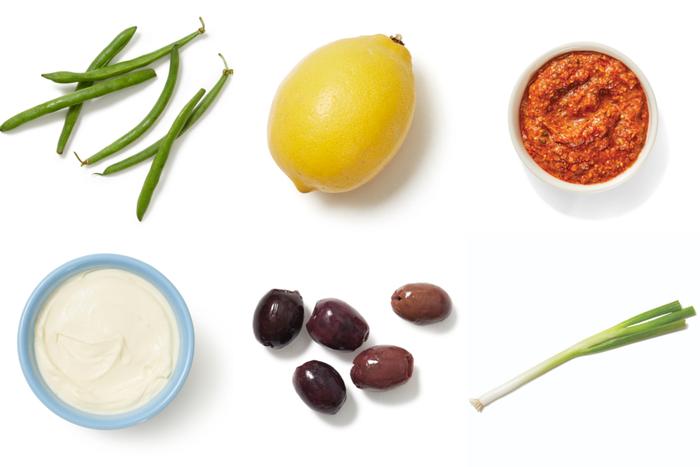 Sautéed Green Beans & Olives over Creamy Romesco Sauce
