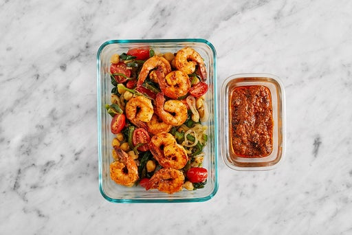 Assemble & Store the Seared Shrimp & Chickpeas