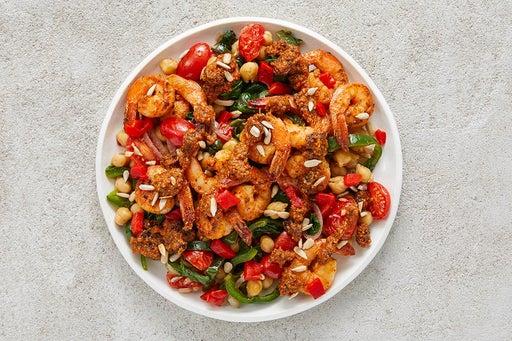 Finish & Serve the Seared Shrimp & Chickpeas