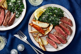 Seared Steaks with Lemon-Parmesan Kale & Roasted Potatoes