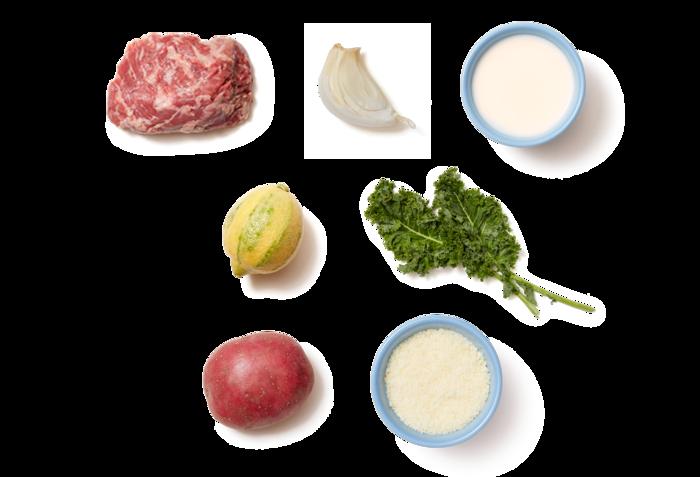 Seared Steaks with Lemon-Parmesan Kale & Roasted Potatoes