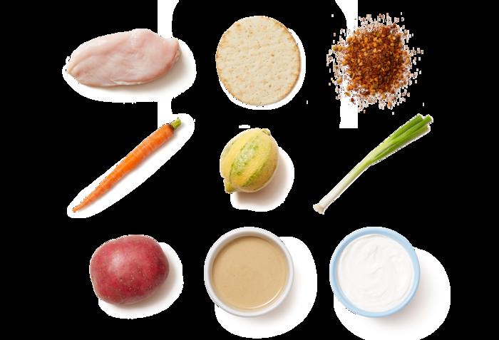 Chicken Souvlaki with Tahini-Yogurt Sauce & Roasted Potatoes