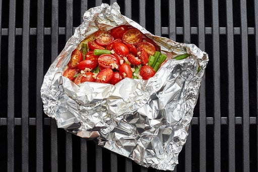 Grill the green beans & tomatoes