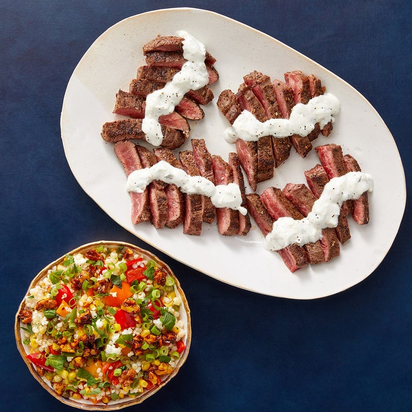 Za'atar Steak & Candied Walnuts with Pearl Couscous, Feta & Vegetables