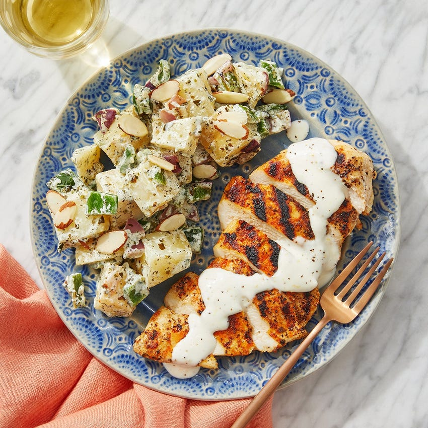 Grilled Chicken & Creamy Lemon Mayo with Salsa Verde Potato Salad