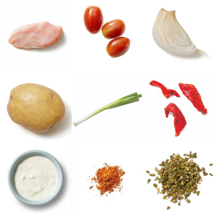 Grilled Shawarma-Spiced Chicken with Garlic Tomatoes & Tzatziki Potato Salad