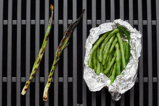 Grill the green beans & scallions