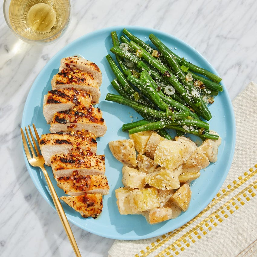 Grilled Chicken & Green Beans with Green Goddess Potato Salad