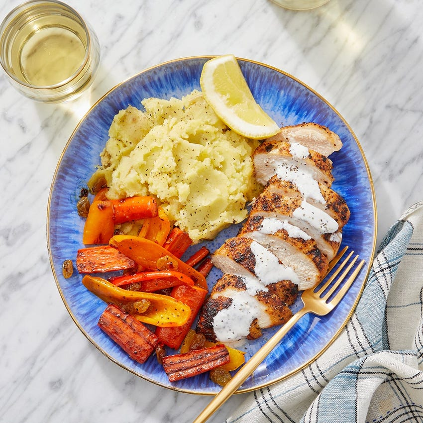 Seared Chicken & Lemon-Garlic Mayo with Mashed Potatoes & Carrot-Pepper Agrodolce
