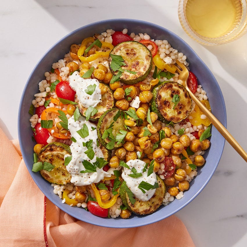 Greek-Style Couscous Salad with Marinated Vegetables & Tzatziki