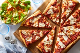 Pizza with Mozzarella, Fontina, & Grana Padano Cheese with Butter Lettuce Salad