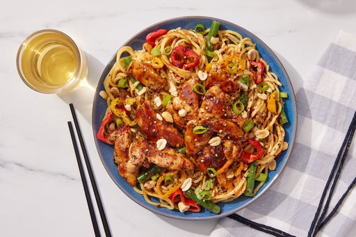 Glazed Chicken & Peanut Noodles with Sweet Peppers & Green Beans