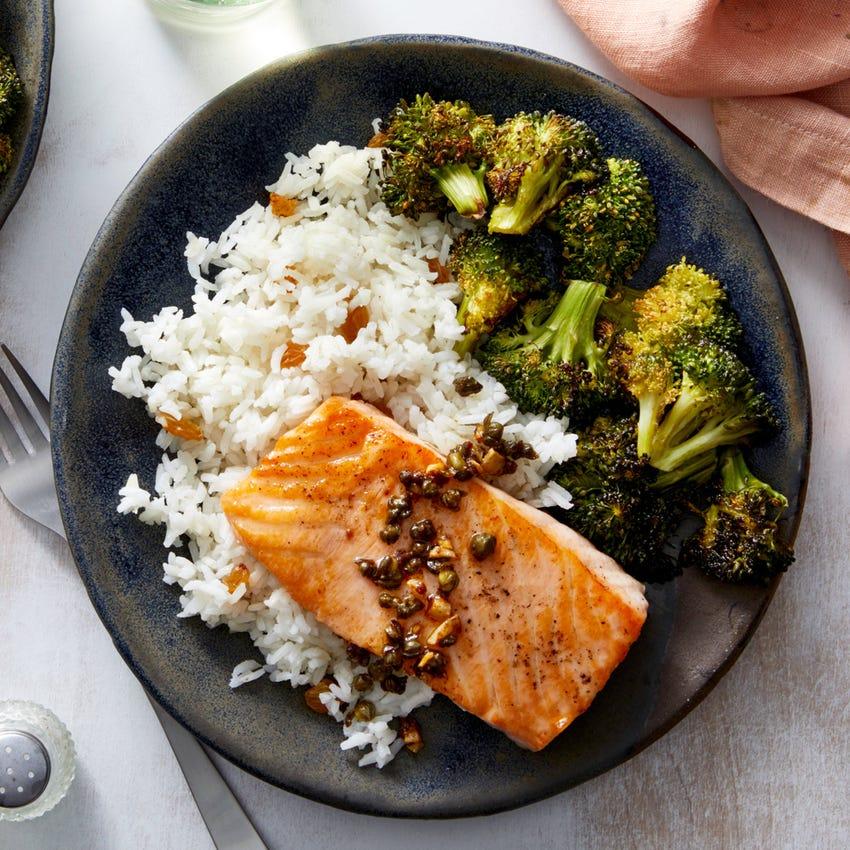 Salmon Piccata with Garlic Rice & Roasted Broccoli