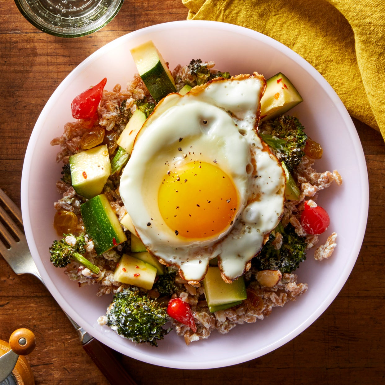 Roasted Broccoli & Farro Salad with Pickled Peppers & Marinated Zucchini
