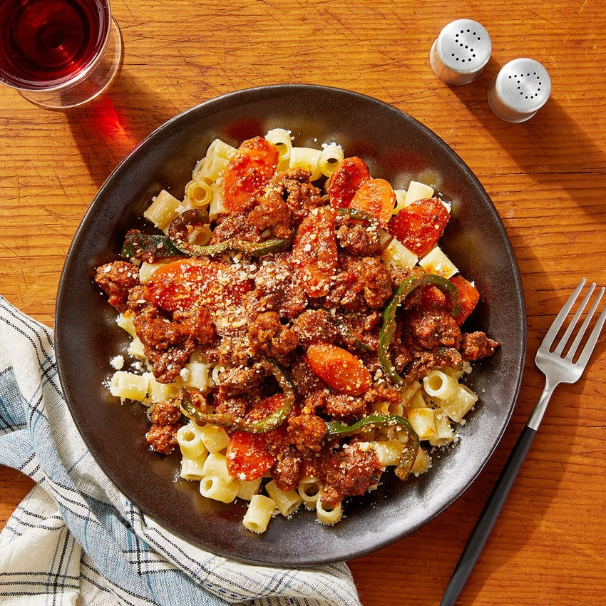 Romesco Beef & Ditali Pasta with Carrots & Poblano Pepper