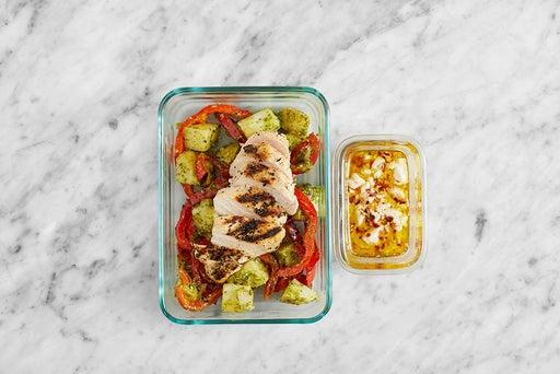 Assemble & store the Oregano Chicken & Potato Salad