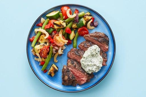 Finish & serve the Steaks & Creamy Salsa Verde