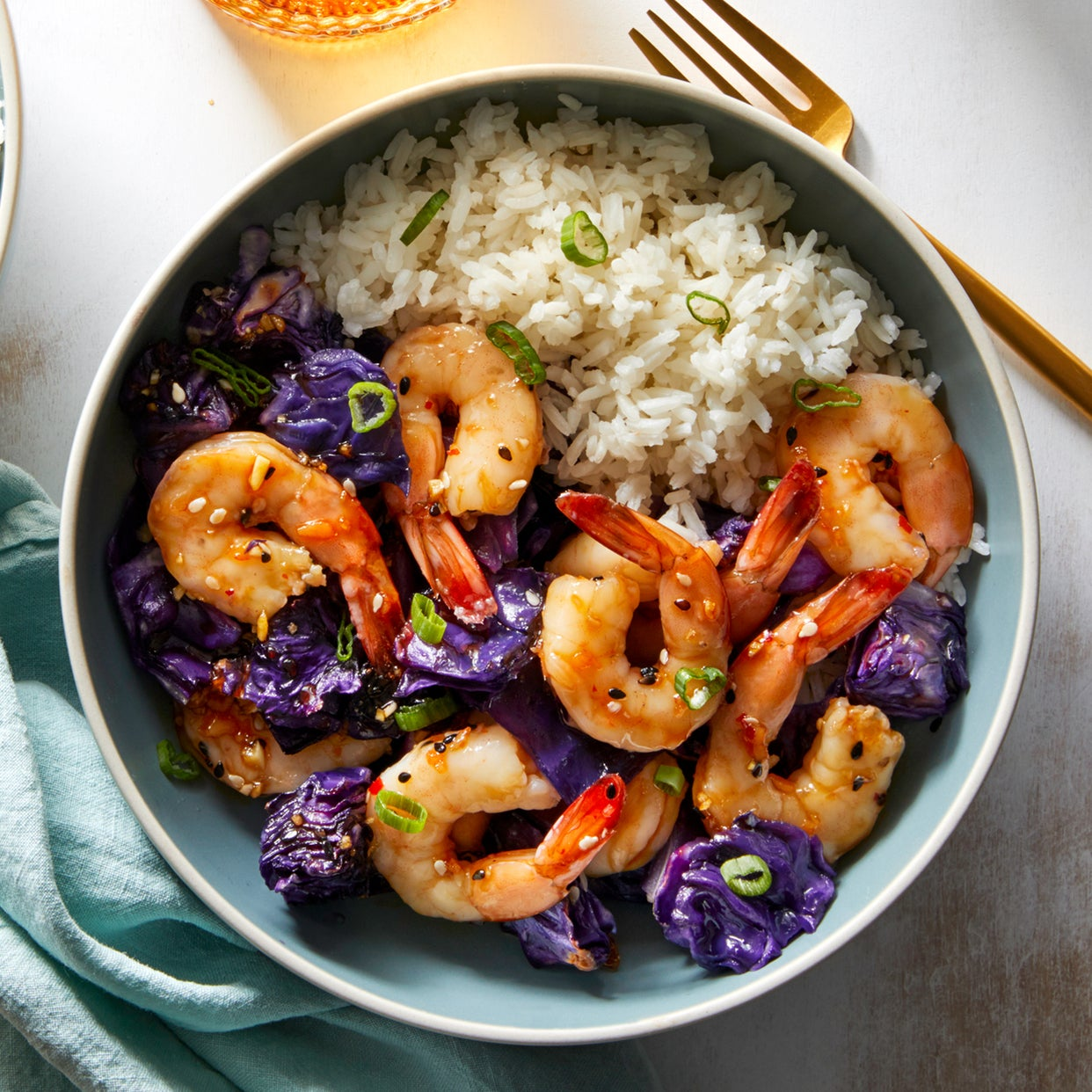 Roasted Shrimp & Cabbage with Sweet Chili-Soy Sauce