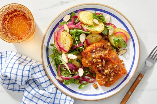 Pan-Seared Cod with Pickled Onion & Arugula Salad