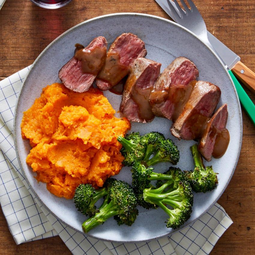 Seared Steaks & Maple Sweet Potato Mash with Roasted Broccoli