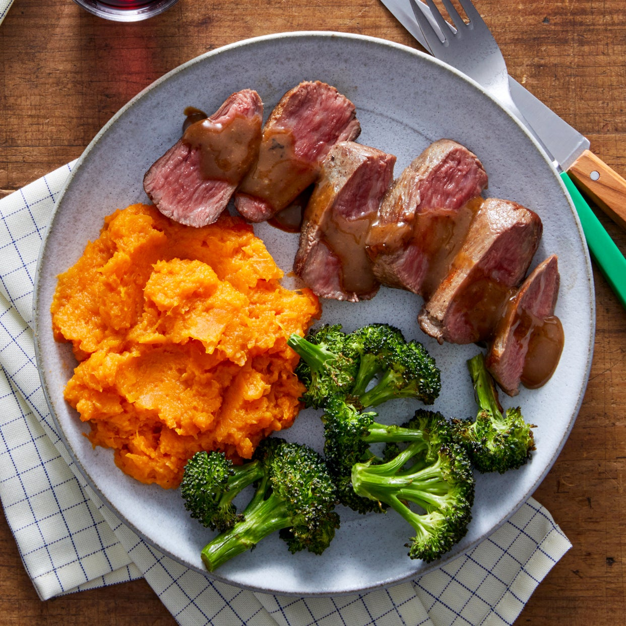 Seared Steaks & Maple Sweet Potato Mash with Roasted Broccoli