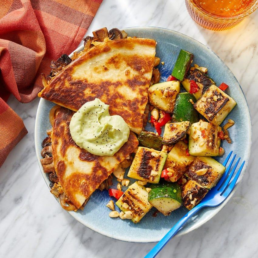 Spicy Mushroom & Onion Quesadillas with Creamy Guacamole