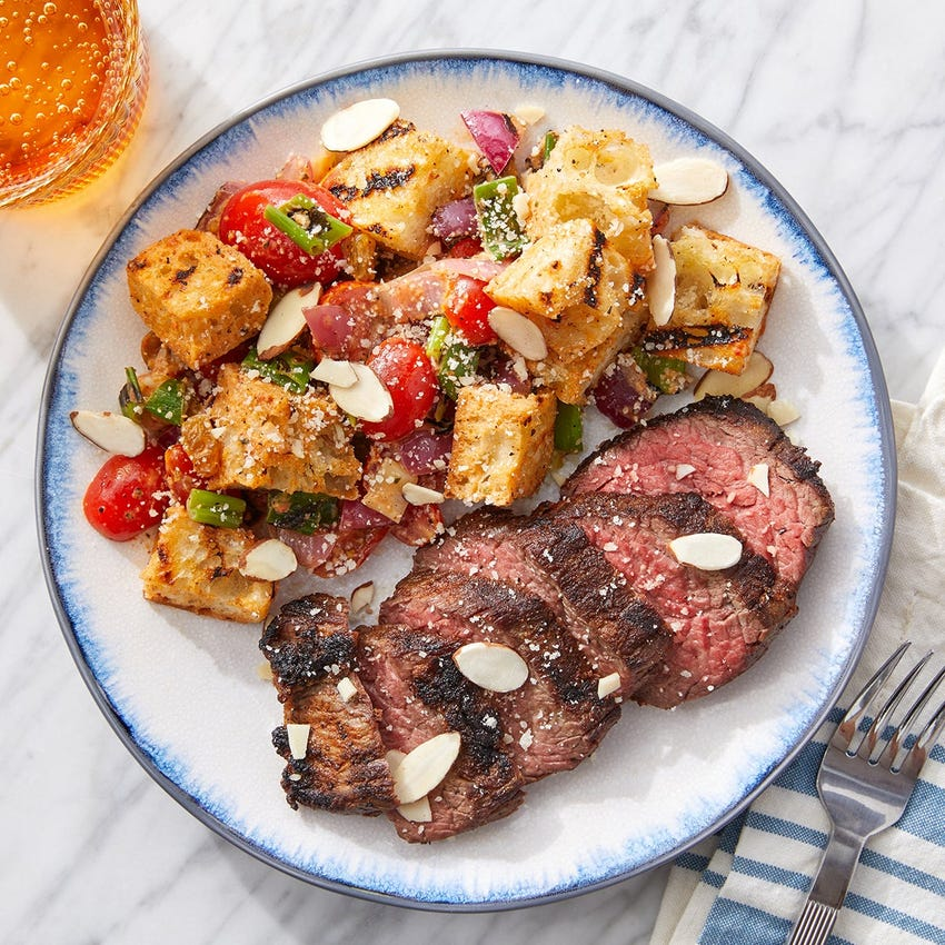 Grilled Steaks & Romesco Panzanella with Almonds & Parmesan