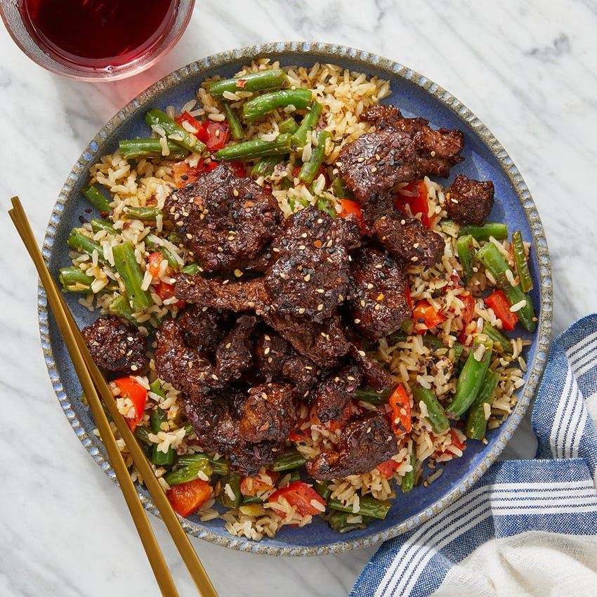 Glazed Beef & Crispy Rice with Sautéed Green Beans & Peppers