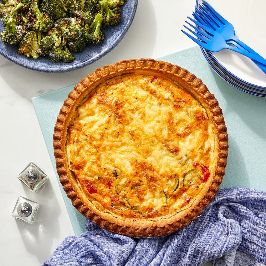 Cheddar Cheese & Vegetable Quiche with Ranch-Dressed Broccoli