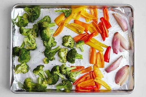 Roast the vegetables & finish the farro