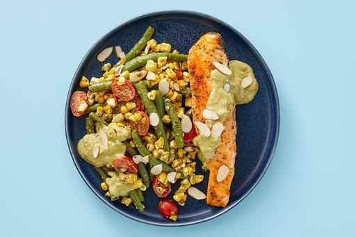 Finish & Serve the Salmon, Corn & Green Beans