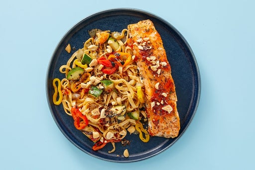 Finish & Serve the Salmon over Wonton Noodles