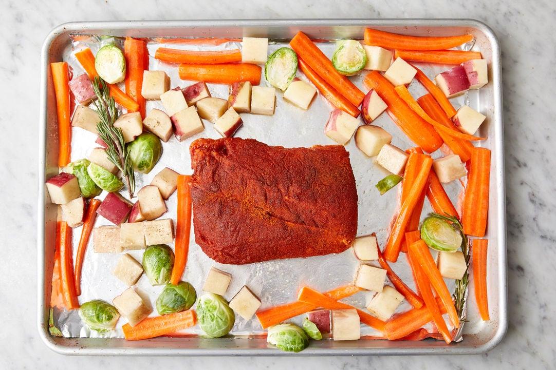 Season the pork: