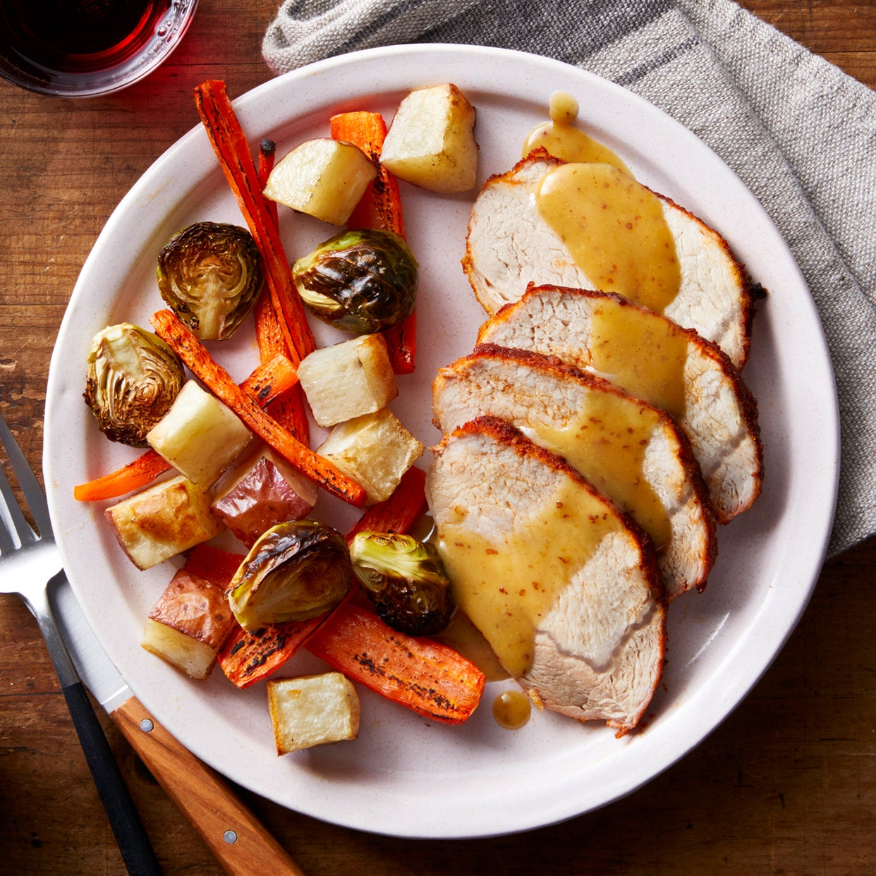 2ca5ff4c3595 Recipe  Sheet Pan BBQ Pork with Roasted Vegetables   Maple-Mustard ...