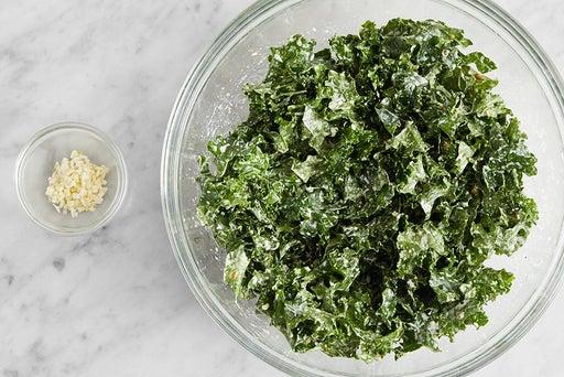 Prepare the ingredients & marinate the kale