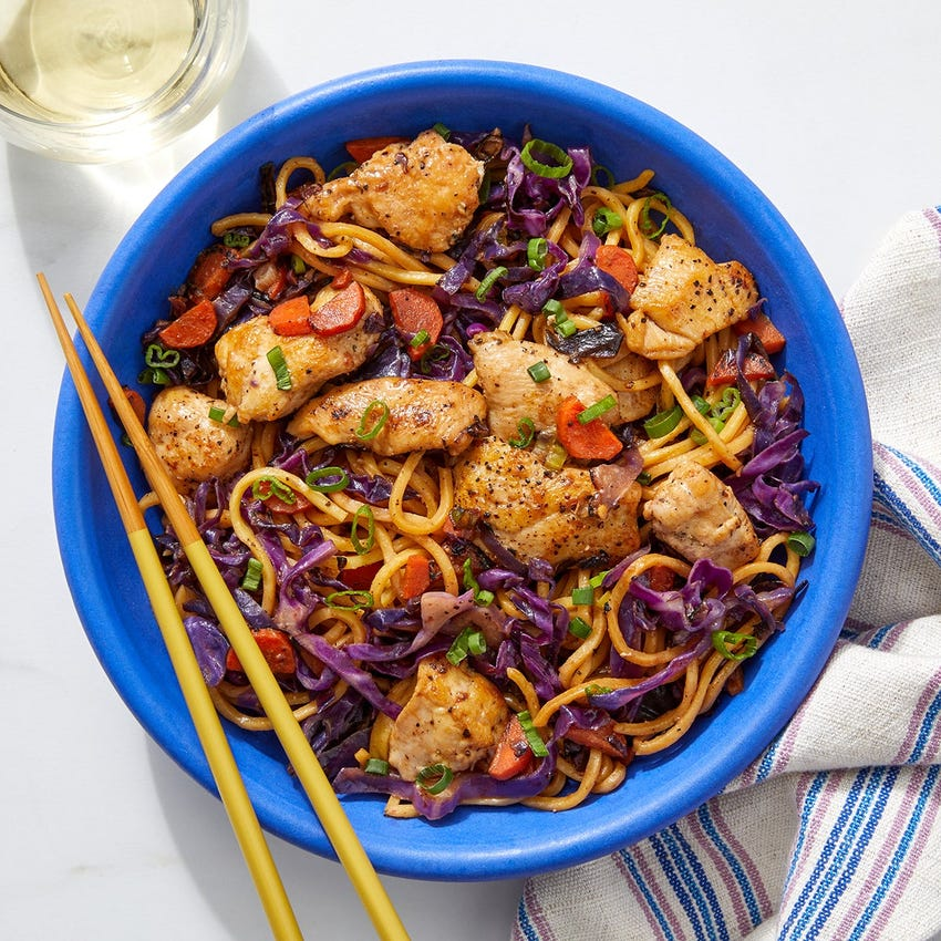 Sambal-Peanut Chicken Noodles with Carrots & Cabbage