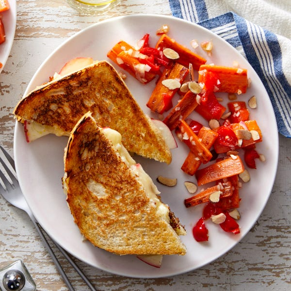 Apple & Cheddar Grilled Cheese with Carrot & Pickled Pepper Salad