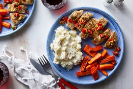 Oregano Chicken & Creamy Mashed Potatoes with Olive & Piquillo Pepper Relish