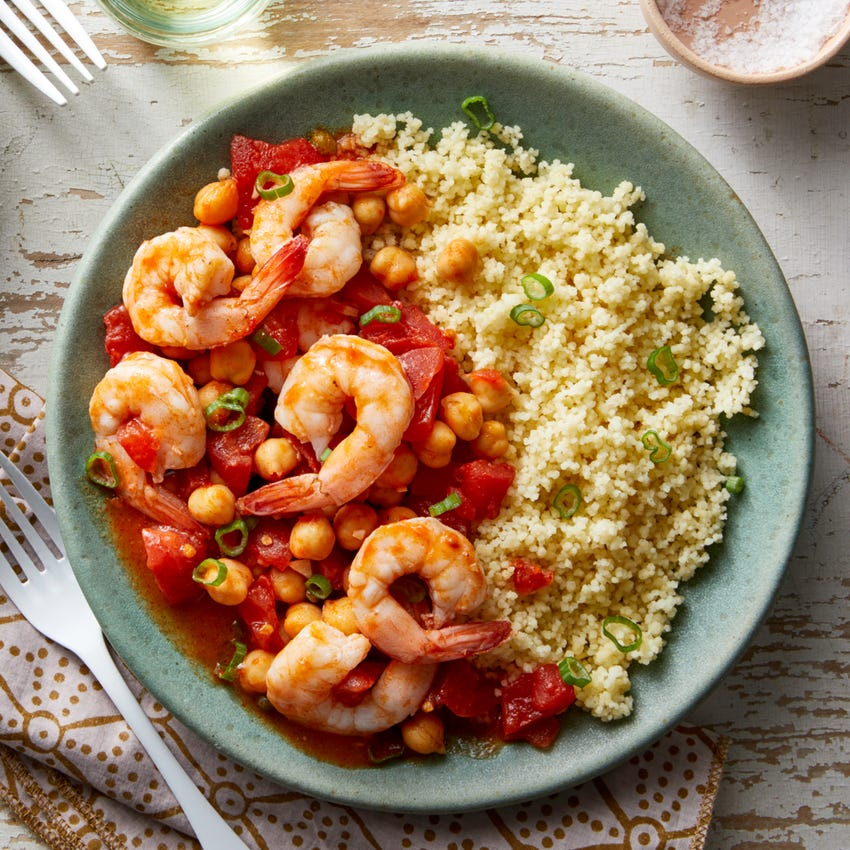 Calabrian Chile Shrimp & Chickpea Stew with Couscous