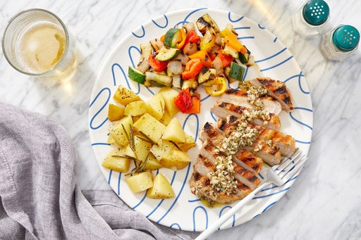 Grilled Salsa Verde Pork Chops with Rosemary-Garlic Potatoes