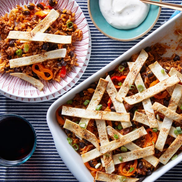 Mexican Beef & Rice Casserole with Tortilla Strips